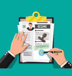 clipboard with job application and pen vector image
