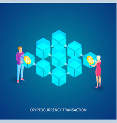 Cryptocurrency transaction concept vector