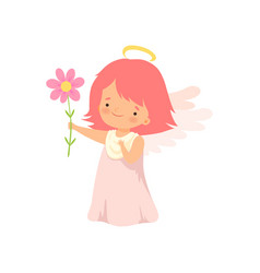 Cute girl angel with nimbus and wings standing vector