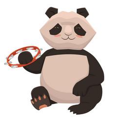 Cute panda plays tambourine isolate on white vector