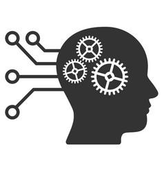 Cyborg interface circuit icon vector
