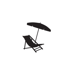 Deck chair umbrella summer beach holiday symbol vector