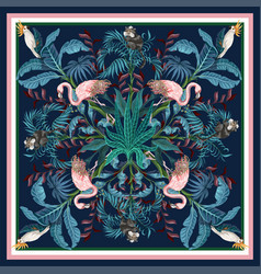 design scarf with tropical trees flamingo and vector image