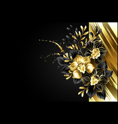 design with foil and black orchids vector image