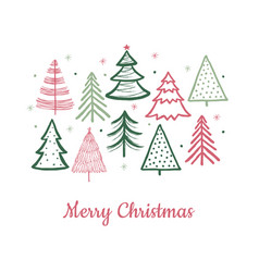 doodle christmas tree card doodle fir-trees snow vector image