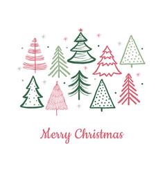 doodle christmas tree card fir-trees snow vector image
