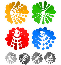 Dotted motif bursting concentric circles element vector