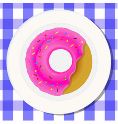 Drawing concept nutrition donut with bright pink vector