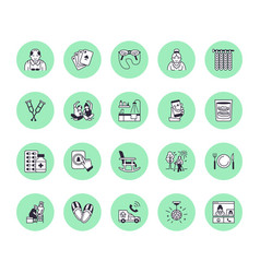 elderly care flat line icons nursing home vector image