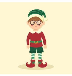 Elf Christmas Glasses Boy vector image