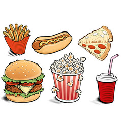 Fast food items-hamburger fries hotdog vector
