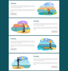 Fishing man situations in spots for landing page vector