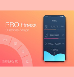 fitness app ui ux design ui design concept with vector image