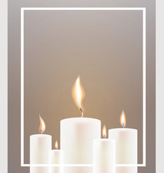 five candle flame and white frame vector image