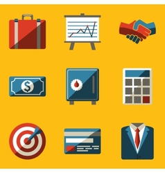 Flat icon set Business vector image
