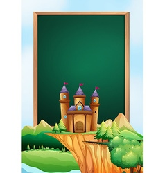 Frame design with castle towers in background vector image