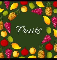 Fresh exotic fruits poster vector