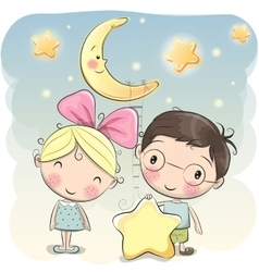 Girl and Boy with a star vector