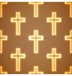 Glowing religious crosses seamless pattern vector image