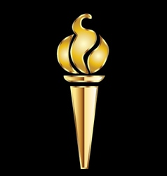 Golden torch flame vector