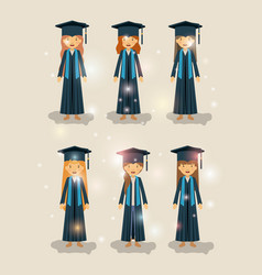 group of female students graduates characters vector image
