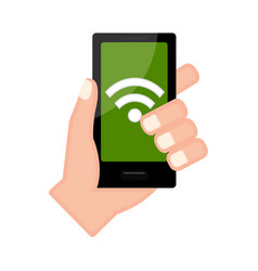 Hand holding a smartphone with a wifi icon vector