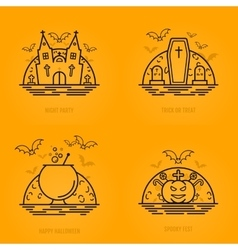 Happy halloween concept icons in line style with vector
