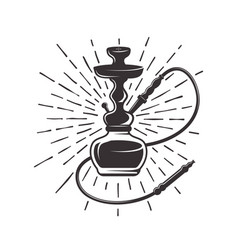 Hookah with rays retro vector