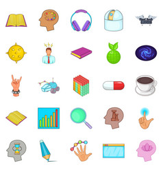 Human mind icons set cartoon style vector