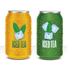 Iced tea tin package with tea leaf vector