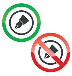 Ink pen nib permission signs vector