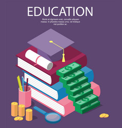 invest in education isometric concept in flat vector image