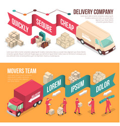 Isometric delivery moving banner set vector