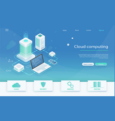 Isometric modern cloud technology vector