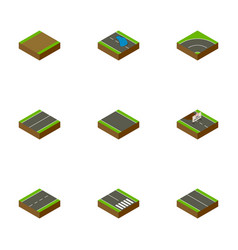 Isometric road set of repairs plash bitumen and vector
