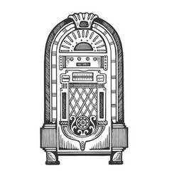 jukebox engraving vector image