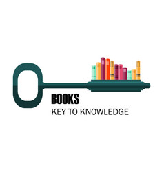 key to knowledge logo key with books vector image