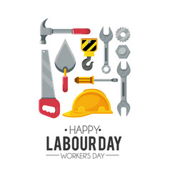 Labour day celebration with construction tools vector