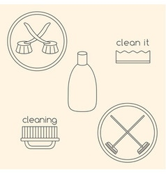 Logo set made of household cleaning objects vector image