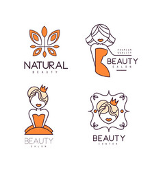 logos for beauty salon or natural cosmetics vector image