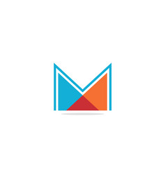 m initial shape colored logo vector image