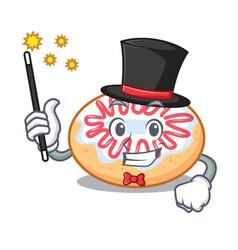 Magician jelly donut mascot cartoon vector