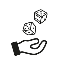 male hand rolling dice isolated on white vector image
