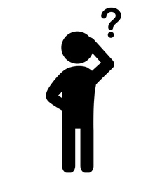 Man with question mark flat icon pictograph vector