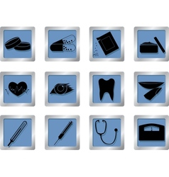 medical icons on square buttons vector image