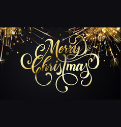 merry christmas greeting card and golden wish vector image