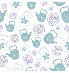 mint green teapots seamless pattern design vector image