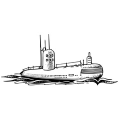 nuclear powered submarine vector image