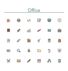 Office colored line icons vector