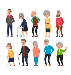 old cartoon seniors aged people wrinkled senior vector image